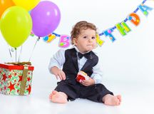 婴孩的第一个生日一年。 库存照片