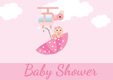 婴孩看板卡女孩阵雨 库存图片