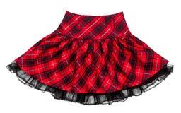 婴孩红色花呢格子裙子 免版税库存照片