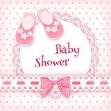 婴孩背景兔宝宝看板卡逗人喜爱的花卉阵雨文本 图库摄影