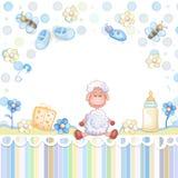 婴孩背景兔宝宝看板卡逗人喜爱的花卉阵雨文本 库存照片