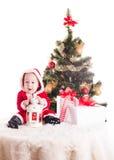 婴孩背景圣诞节查出在白色 图库摄影