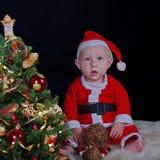 婴孩背景圣诞节查出在白色 免版税库存照片