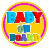 婴孩董事会 在汽车的标志贴纸有孩子的 库存图片