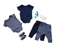 婴孩衣裳,儿童时尚的概念 免版税库存图片