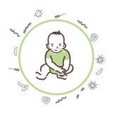 婴孩被保护免受细菌和病毒 库存图片