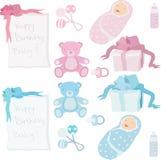 婴孩诞生辅助部件和礼物储蓄传染媒介 免版税库存图片