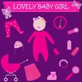 婴孩逗人喜爱的女孩图象 女婴新出生的可爱的贺卡 婴儿送礼会邀请模板 图标 库存照片