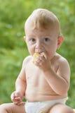 婴孩面包吃 免版税库存照片