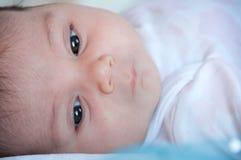 婴孩面孔特写镜头,选择聚焦 库存照片