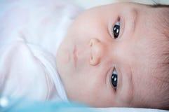 婴孩面孔特写镜头,选择聚焦 免版税图库摄影