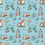 婴孩,孩子戏弄手拉的元素无缝的样式 Skeched乱画元素训练,骑自行车,马、火箭和玩具船 免版税库存照片