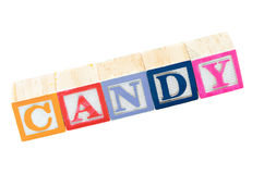 婴孩阻拦拼写糖果 图库摄影