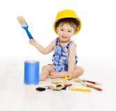 婴孩画笔颜色 儿童男孩滑稽的矮小的设计师 免版税库存照片