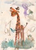 婴孩giraffein水彩 免版税库存图片