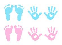 婴孩handprint和脚印例证 库存照片