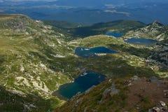 孪生、三叶草、鱼和更低的湖,七个Rila湖, Rila山 库存照片