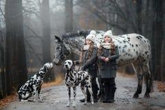 孪生与阿帕卢萨马马和达尔马提亚狗狗的女孩画象 免版税库存照片