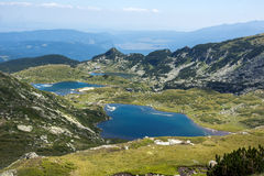 孪生和Trefoil湖,七个Rila湖, Rila山 库存图片