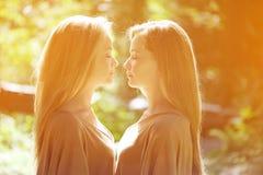孪生 一个小组年轻美丽的女孩 两名妇女面孔特写镜头 库存图片