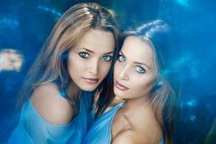 孪生 一个小组年轻美丽的女孩 两名妇女面孔特写镜头 免版税库存照片