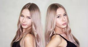 孪生 白色的可爱的白肤金发的女孩 库存照片