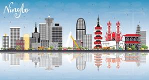 宁波中国与颜色大厦、蓝天和Ref的市地平线 向量例证
