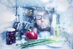 它下雪在冰箱里面的` s 免版税库存照片