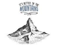 它好在山签到葡萄酒,老手拉,剪影或者被刻记的样式 现代看的山峰  向量例证