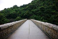 在tai tam水库,香港的一座桥梁 图库摄影