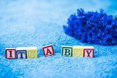 它是男孩怀孕公告 免版税库存图片