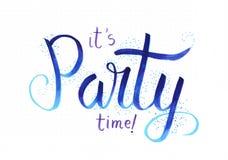 `它` s党时间! `手字法说作为与五彩纸屑的蓝色文字 库存例证