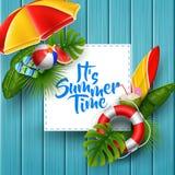 它` s夏时与白方块的横幅设计在木背景的文本和海滩元素的 向量例证