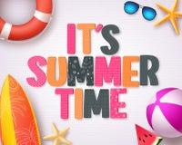 它` s夏时传染媒介与五颜六色的夏天3D文本的背景设计 库存例证