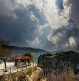 它` s希腊 山观点 迈泰奥拉 库存照片