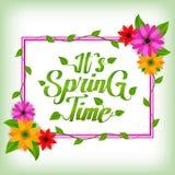 它` s春天传染媒介问候背景与白色空间的设计模板文本、五颜六色的花和元素的春天se的 皇族释放例证
