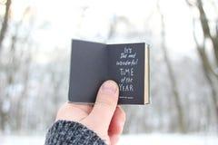 它` s年的最美妙的时期 递拿着与文本的一本书在背景-冬天公园 库存照片