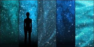 宇宙、星、星座、行星和外籍人形状 空间背景汇集 库存照片