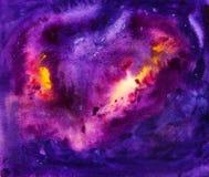 宇宙水彩背景 库存图片