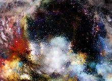 宇宙空间和星、宇宙抽象背景和玻璃作用 向量例证