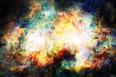 宇宙空间和星,上色宇宙抽象背景 火和爆裂声作用 免版税库存照片