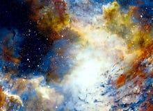 宇宙空间和星,上色宇宙抽象背景 库存例证
