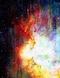 宇宙空间和星,蓝色宇宙抽象背景 图库摄影