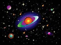 宇宙背景纹理与不同颜色行星和星的在传染媒介 皇族释放例证