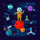宇航员、空间和行星 免版税库存照片