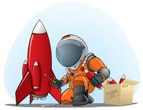 宇航员修补工作火箭 库存照片