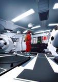 宇航员和太空飞船内部 皇族释放例证