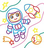 宇航员和火箭队彩图  库存照片