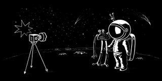 宇航员和飞碟乱画样式传染媒介例证 先驱太空人遇见宇宙生物