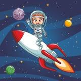 宇航员在太空飞船的男孩飞行 免版税库存图片